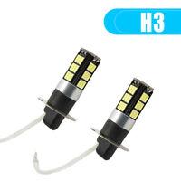 2x H3 CREE LED Fog Light Bulbs Conversion Kit Super Bright DRL 6000K White 100W