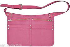 Deluxe Real Leather Market Traders Pink Money Cash Shoulder Strap Belt Zip Bag