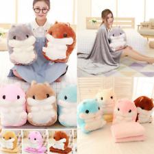 Home Decor Cute Animal Hamster Pillow With Fleece Blanket Toys Plush Doll Xmas p