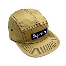 NWT Supreme NY Tan Navy Box Logo Contrast Stitch Camp Cap Hat SS18 DS AUTHENTIC
