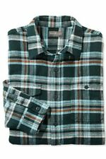 Men's LL Bean Signature Twill Plaid Shirt-M-NWT-Hunter-Slim Fit-100% Cotton