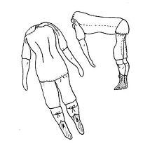 "10-11""ANTIQUE-VINTAGE CHINA HEAD/PARIAN LADY DOLL CLOTH BODY PATTERN"