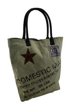Domestic Mail Vintage Postal Inspired Cotton Canvas Tote Bag with Key Ring