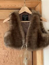 Women's Cropped Dark Brown Faux Fur Gillet From Primark Size 10