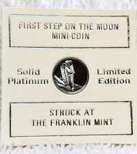 Solid Platinum Mini Coin 'First Step on the Moon' w/ OGP & COA The Franklin Mint