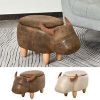 Buffalo Storage Stool Cute Kid Decoration Footrest Wood Frame Legs Padding