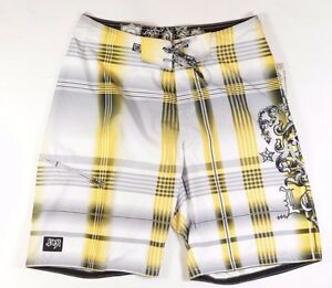 Lost Pointe Hommes 100% Polyester Boardshorts Taille 32 Or Blanc Neuf