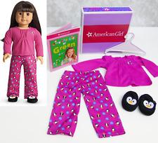 American Girl WINTER PAJAMAS & PENGUIN SLIPPERS PJ'S + Book Top Pants Hanger BOX