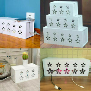 Desktop Cable Tidy Storage Box White Flower Socket Safety Management Container