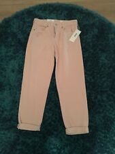 H&M PALE PINK BOYFRIEND FIT LOW WAISTED JEANS SIZE 25 100% GENUINE NWT