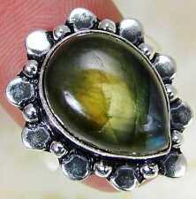 Grazia Labradorite & 925 anello d'argento fatti a mano di marca taglia M MA13 -3571 & Scatola Regalo -