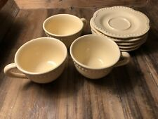 NEW Pottery Barn 3 Mugs, 4 Saucers Beaded Emma Yellow Coffee Cups