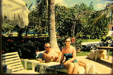Vtg 35mm 1959 Color Photo Slide couple travel swimsuit