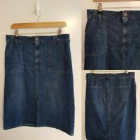 MARKS AND SPENCER M&S BLUE DENIM STRAIGHT PENCIL SKIRT SIZE 12 W29 LENGTH 26