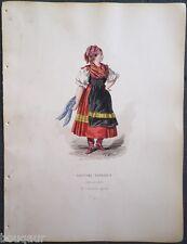 COSTUME Autriche Hongrie Suisse Gravure Originale 19e Aquarellée Pelcoq Morse 10