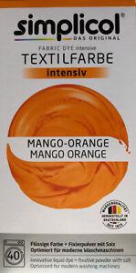 """Simplicol Textilfarbe intensiv all in 1 -Flüssige Rezeptur """"Mango Orange"""" Neu!"""