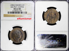 Sweden Pattern Copper (c.1853) 2 Ore Ngc Ms62 Bn 150 Rd Rare Top Graded Km# Pn71
