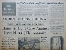 11-1963 November 24 JFK - KENNEDY ASSASSINATION - ORIGINAL AKRON BEACON JOURNAL