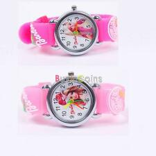 Cartoon Doll 3D Child Kid Analog Quartz Wrist Watch Rubber Leather for Barbie HY