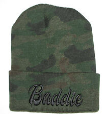 "Camo/Black TRENDY COOL HIP CUFFED ""Baddie"" 3D Embroidery  Beanie HAT SKULL CAP"