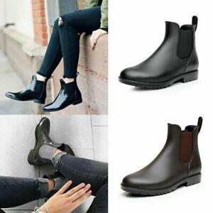 Damen Stiefeletten Gummistiefel Regen Schuhe Regenstiefel Freizeit Ankle Boots