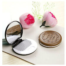 Mini Pocket Chocolate Cookie Biscuits Mirror Comb Makeup Tool For Travel