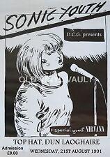 Nirvana Vintage Concert Poster Top Hat,Dublin, Ireland 1991 A3 Size Repro