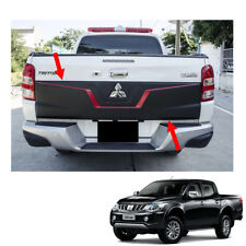 Rear Tailgate Outer Lid Cover Black Red 1Pc Fit Mitsubishi L200 Triton 2015 - 17