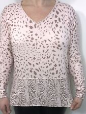 Pink Top Leopard Print Soft Feel Silver Metallic Thread Dipped Hem One Size NEW