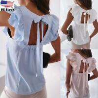 Womens Ruffle Sleeve Vest Tank Tops Ladies Casual Sleeveless Shirt Blouse Tees
