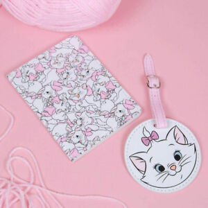 Disney Marie Aristocats Passport Cover Holder Luggage Tag Kid Set Holiday Travel