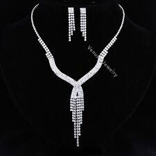 Bridal Wedding Jewelry Prom Rhinestone Crystal Necklace Earrings Set N299