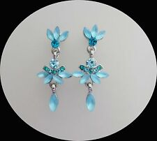 Vintage Stylish Earrings Aquamarine Australia Crystals and Rhinestone E1344A