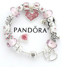 Authentic Pandora Bracelet Snap Silver Pink Wife European Charms Christmas Gift