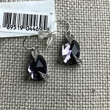 NEW Alexis Bittar AUTHENTIC Mosaic Lace Purple Silver Crystal Drop Earrings $145