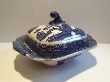 Antique Blue Willow JMP Bell Glasgow Earthenware Pottery Covered Tureen