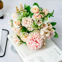 13 Head Artificial Peony Bouquet Silk Fake Flowers Leaf Wedding Party Home Decor