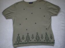 Ladies Top - by 6th Sense-  Sage Green - 100% Cotton -short Sleeve Size 14/16
