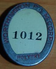 WHITEHEAD HOAG CELLULOID WORTHINGTON PUMP MACHINE HOLYOKE MA. EMPLOYEE BADGE PIN