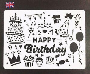 A4 Size Happy Birthday Design Flexible Thin Plastic Reusable Art Craft Stencil