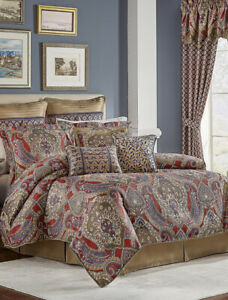 Croscill King Comforter Set Margaux Ornate Damask Jacquard 3 Pc Red Blue