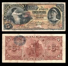 Mexico El Banco Nacional de Mexico 5 Pesos Series NA 9-5-1913. Cat # M298c Fine+