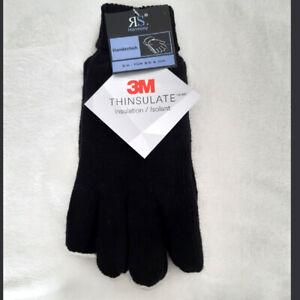 Damen Finger Handschuhe Thinsulate extra warm mit 50% Wolle Schwarz S/M