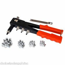 "Professional Hand Nut Rivet Gun w/ 40 nut inserts 6-32, 8-32, 10-24 and 1/4""-20"