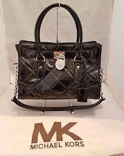 Michael Kors Hamilton Medium EW Quilted Black Patent Leather Tote Satchel
