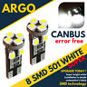 W5W 501 Xenon 8 SMD LED Side Light Bulbs white canbus