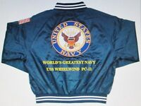 """USS WHIRLWIND  PC-11  NAVY ANCHOR """" EMBROIDERED 2-SIDED SATIN JACKET"""