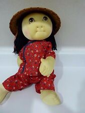 Handmade Asian Cabbage Patch Doll in Asian Outfit and Wicker Hat
