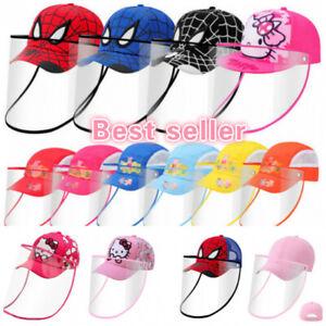 Cartoons For Kids Children Full Face Shield mask Visor Anti-Fog Clear Cap hat