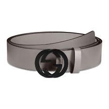 GUCCI Men's Interlocking G GG logo Belt Gray 368186 Size 40 NWT